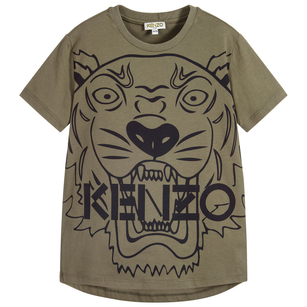 Kenzo Boys Military Green Tiger T-shirt (Mini-Me)