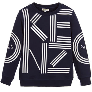 Kenzo Boys Navy Blue Logo Sweatshirt (Unisex) Boys Sweaters & Sweatshirts Kenzo Paris [Petit_New_York]