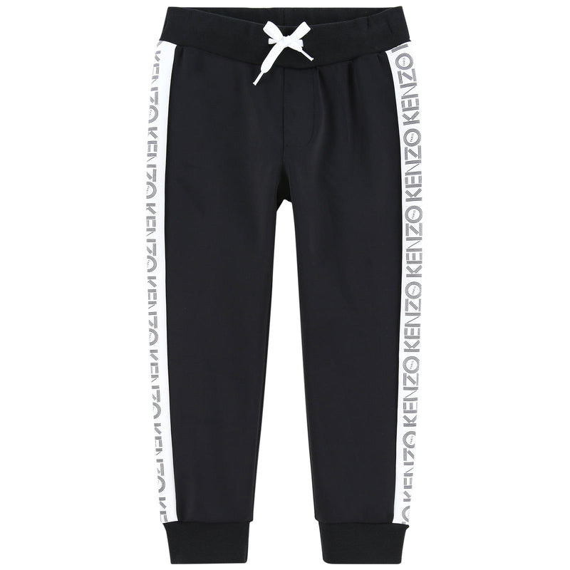 Boys Black Sweatpants with Side Strip Logo