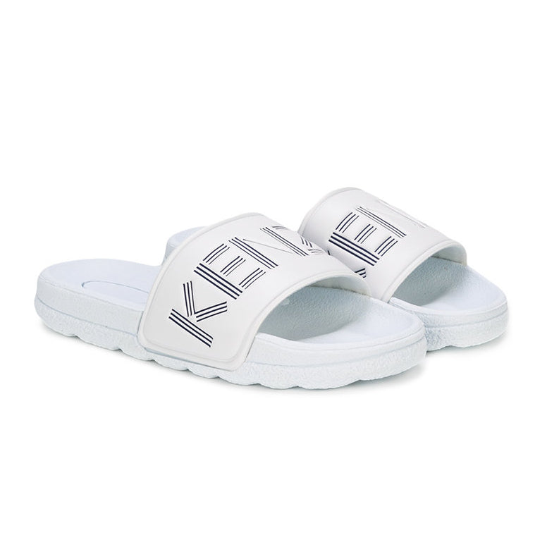 Kenzo Boys White Slides with Navy Blue Logo