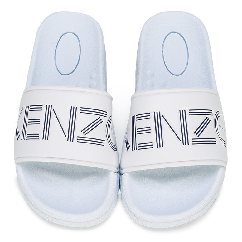 Boys White Slides with Navy Blue Logo