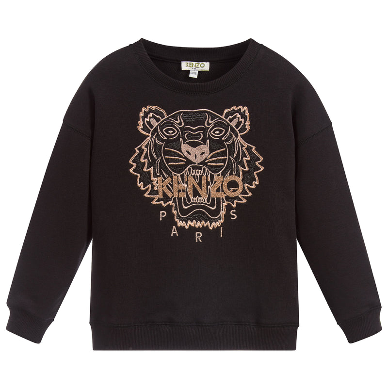 Girls Black Sweatshirt with Bronze Tiger Logo (Mini-Me)
