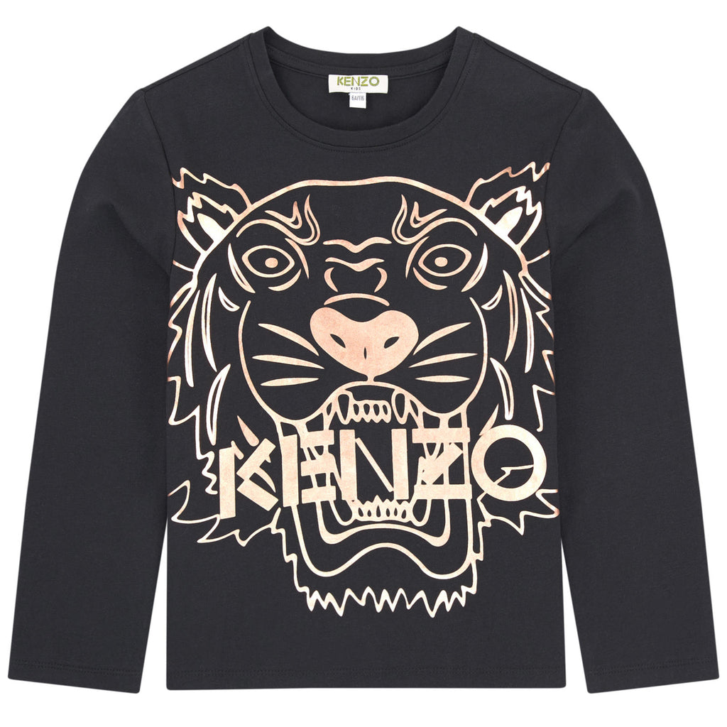 Kenzo Girls Black with Gold Tiger Logo Top
