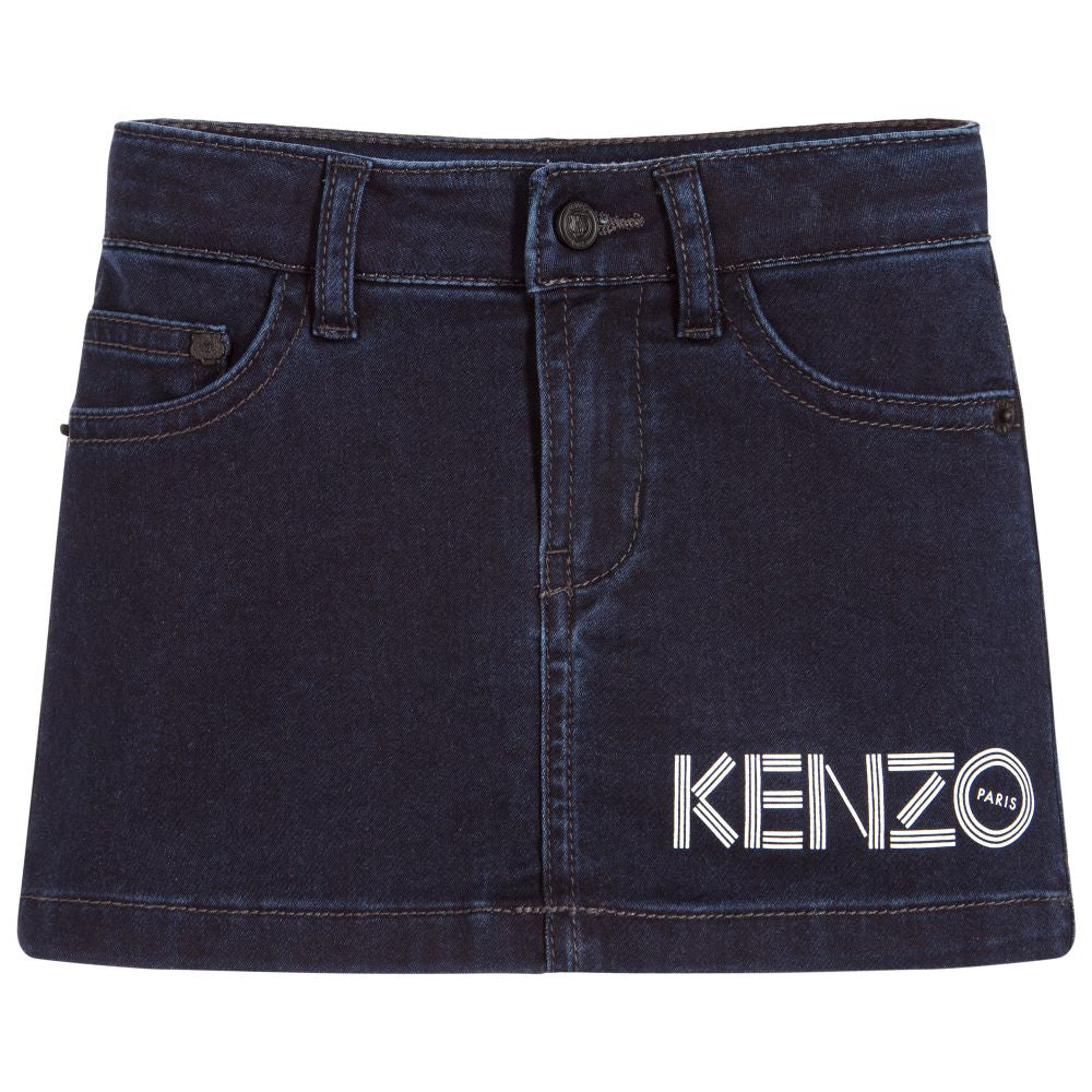 Kenzo Girls Blue Denim Logo Skirt Girls Skirts Kenzo Paris [Petit_New_York]
