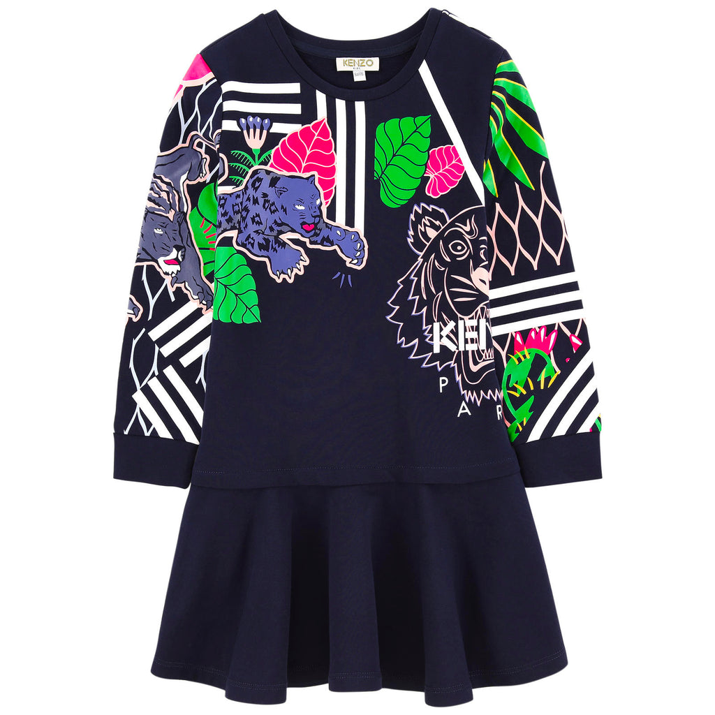Girls Dark Navy Colorful Jungle Tiger Dress