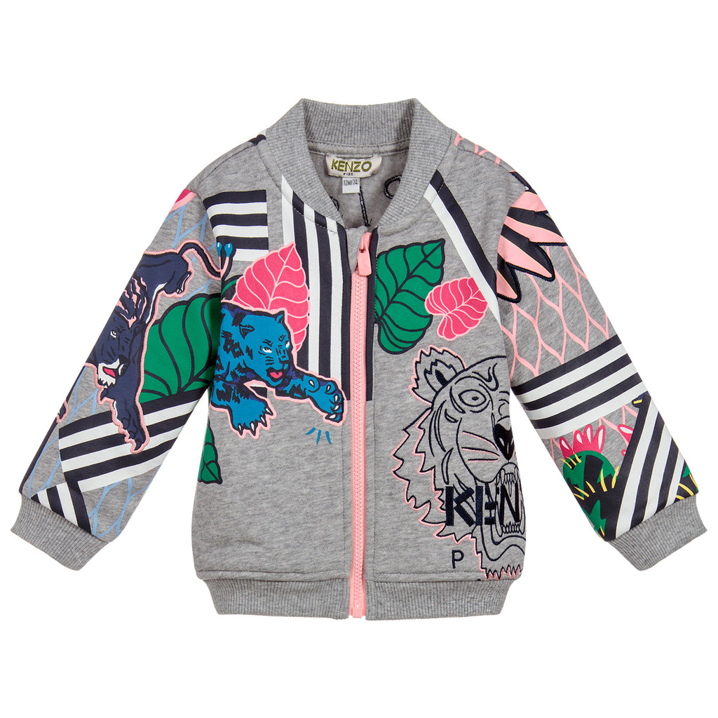 Baby Girls Grey Cotton Zip-Up Jacket