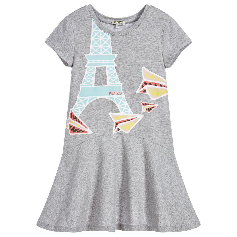 Kenzo Girls Grey Eiffel Tower Comfy Dress (Mini-Me)