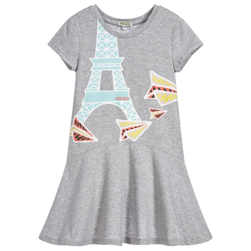 Girls Grey Eiffel Tower Comfy Dress (Mini-Me)