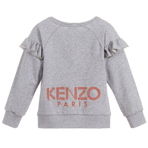 Girls Grey Flared Back Logo Sweatshirt