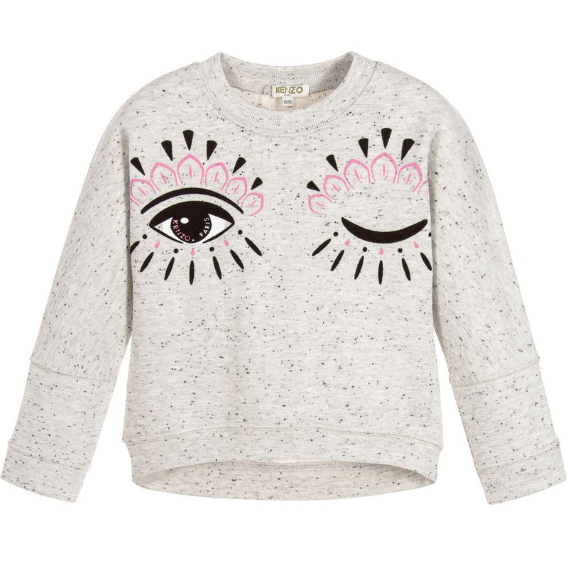 Kenzo Girls Grey Iconic Eye Sweatshirt (Mini-Me) Girls Sweaters & Sweatshirts Kenzo Paris [Petit_New_York]