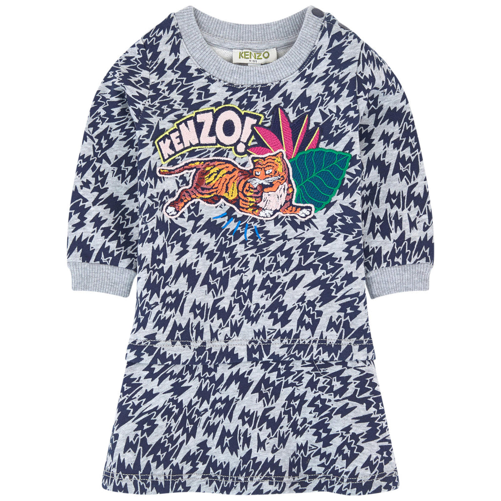 Baby Girls Grey Tiger Logo Sweatshirt-Dress