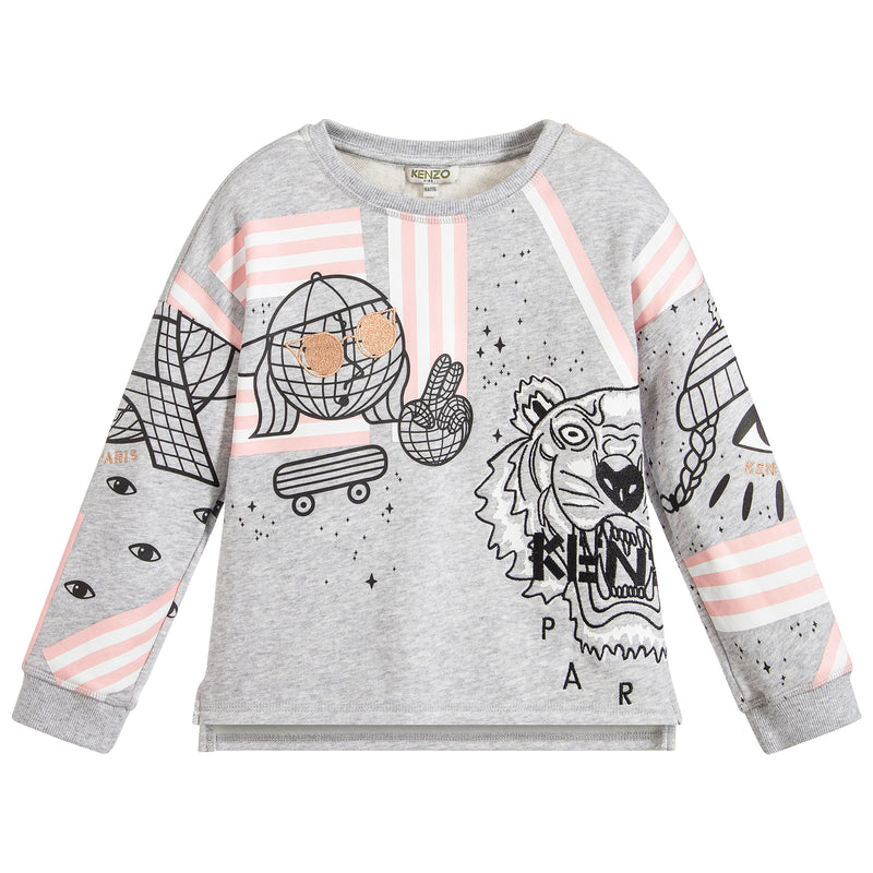 Girls Grey with Pink Tiger Logo Sweatshirt