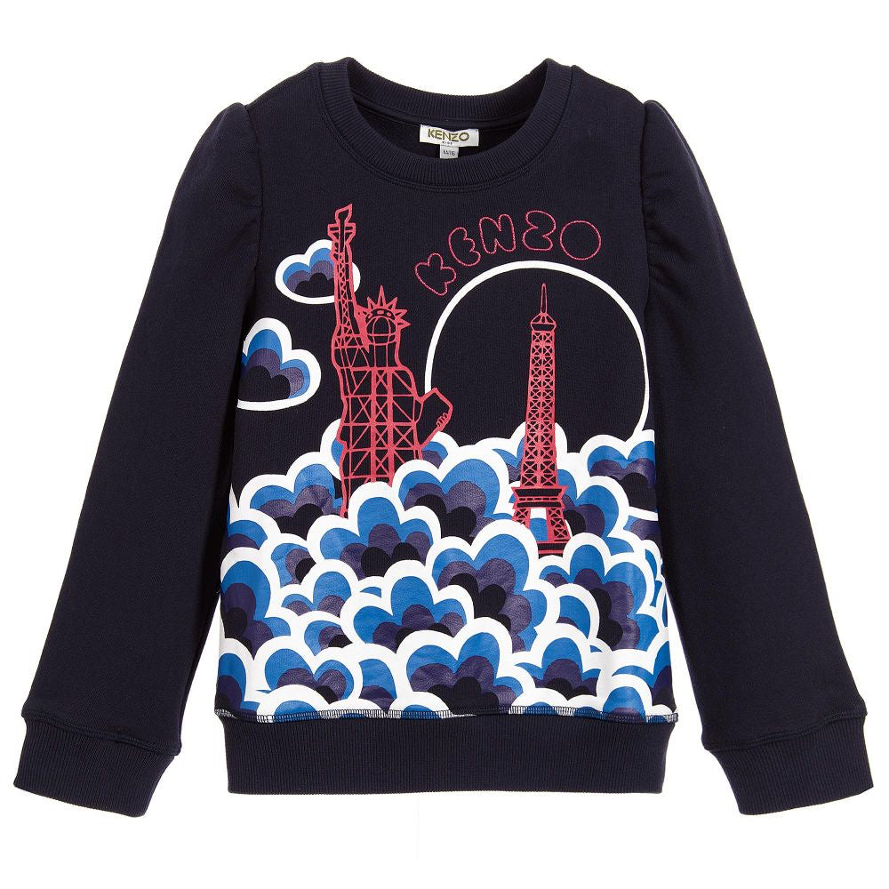 Kenzo Girls Navy Blue Graphic New York Paris Sweatshirt Girls Sweaters & Sweatshirts Kenzo Paris [Petit_New_York]