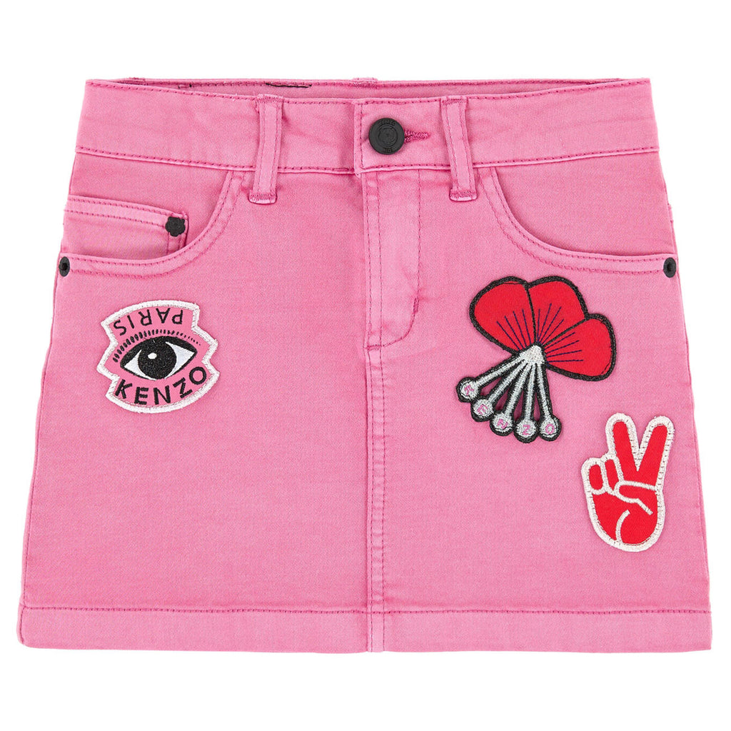 Kenzo Girls Pink Jeans Skirt with Patches Girls Skirts Kenzo Paris [Petit_New_York]