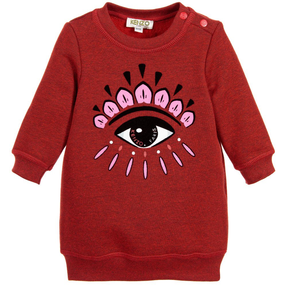 Kenzo Baby Girls Red Classic 'Eye' Sweater Dress Baby Sweaters & Sweatshirts Kenzo Paris [Petit_New_York]