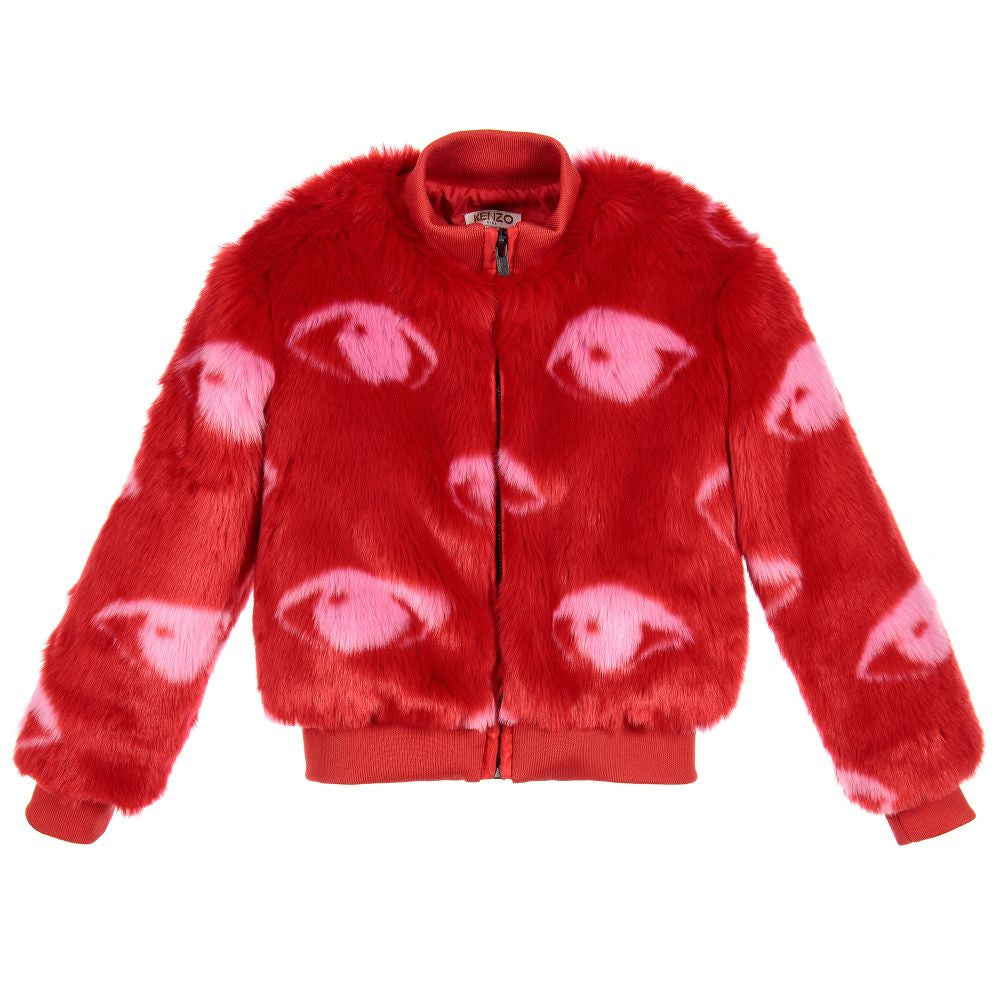 Kenzo Girls Red Faux Fur Jacket (Mini-Me) Girls Jackets & Coats Kenzo Paris [Petit_New_York]