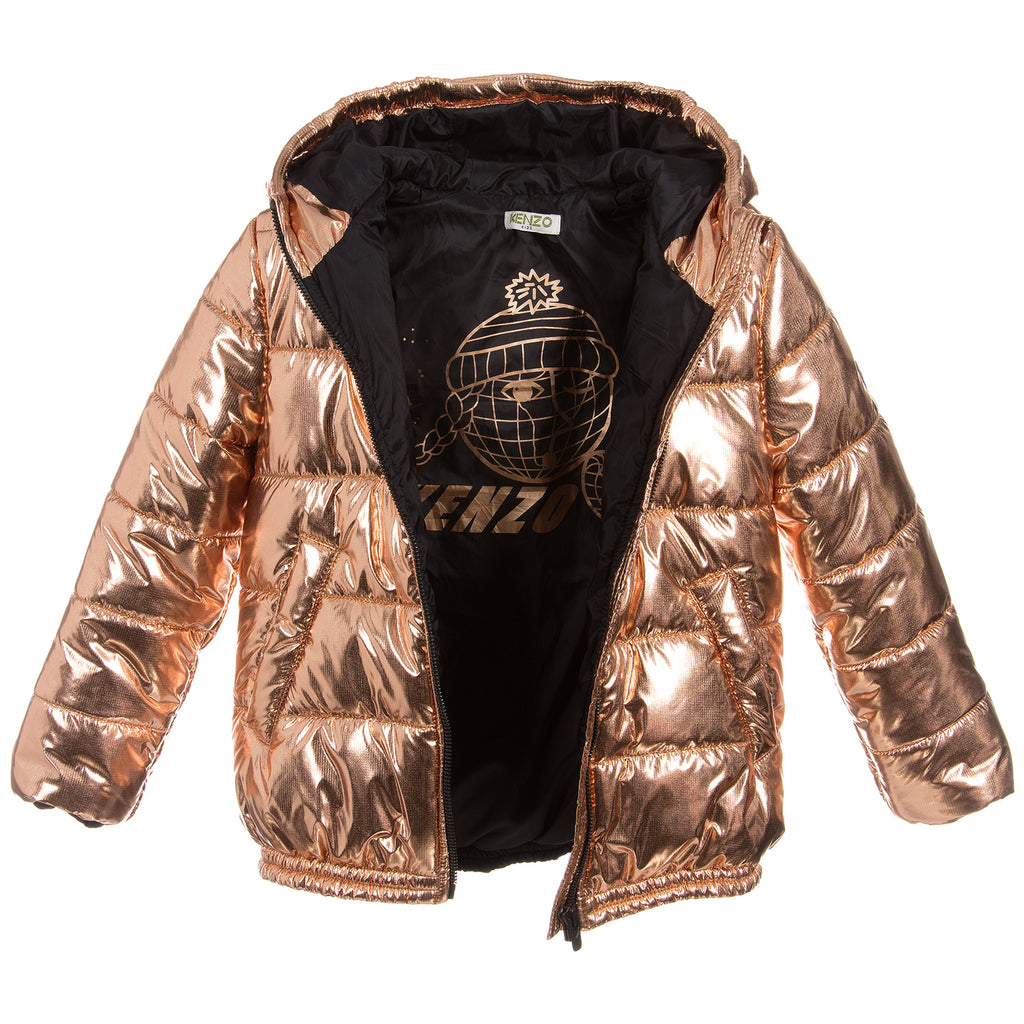 Girls Shiny Brass Puffer Jacket