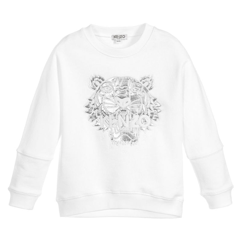 Girls White & Silver Tiger Logo Sweatshirt (Mini-Me)