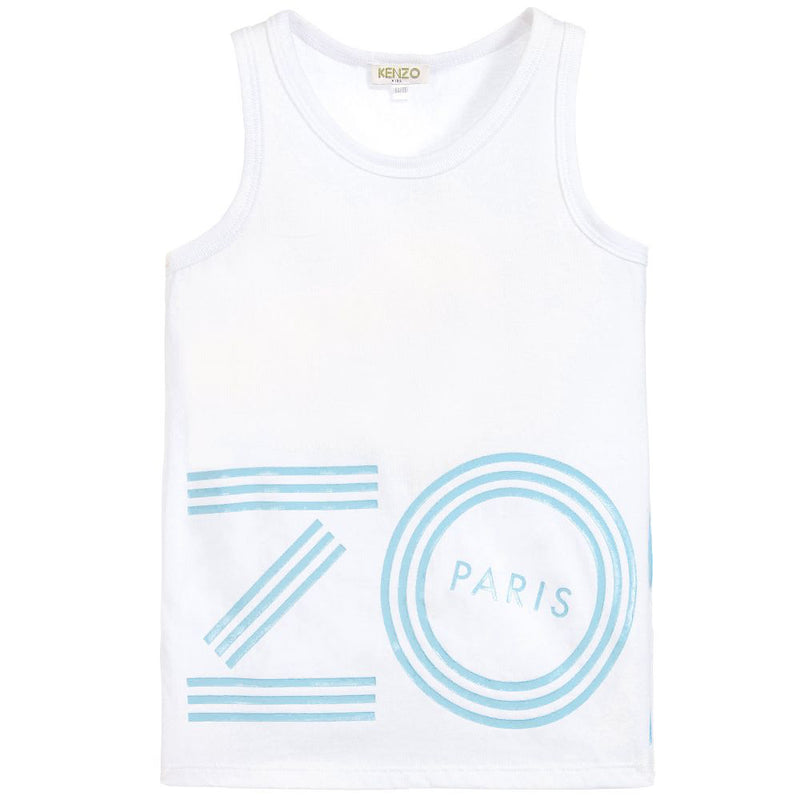 Girls White & Blue Logo Tank Top