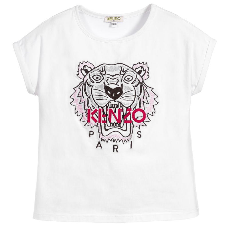 Girls White Tiger Logo T-shirt (Mini-Me)