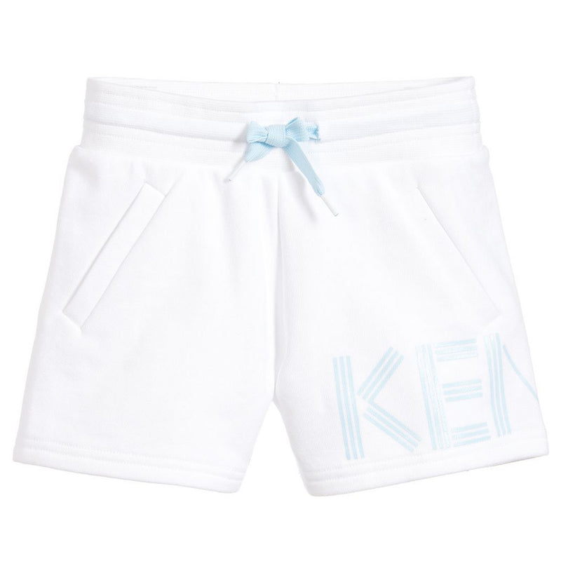 Girls White & Blue Logo Sweatshorts