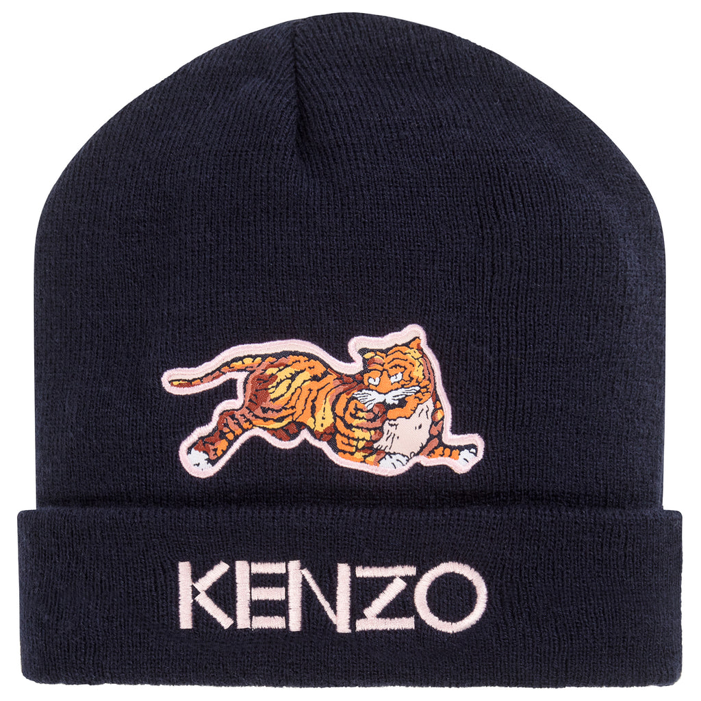 Unisex Navy Blue Hat with Pink Tiger Logo