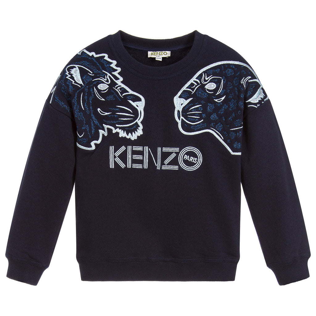 Kenzo Girls Navy Blue Glittery Lion Logo Sweatshirt