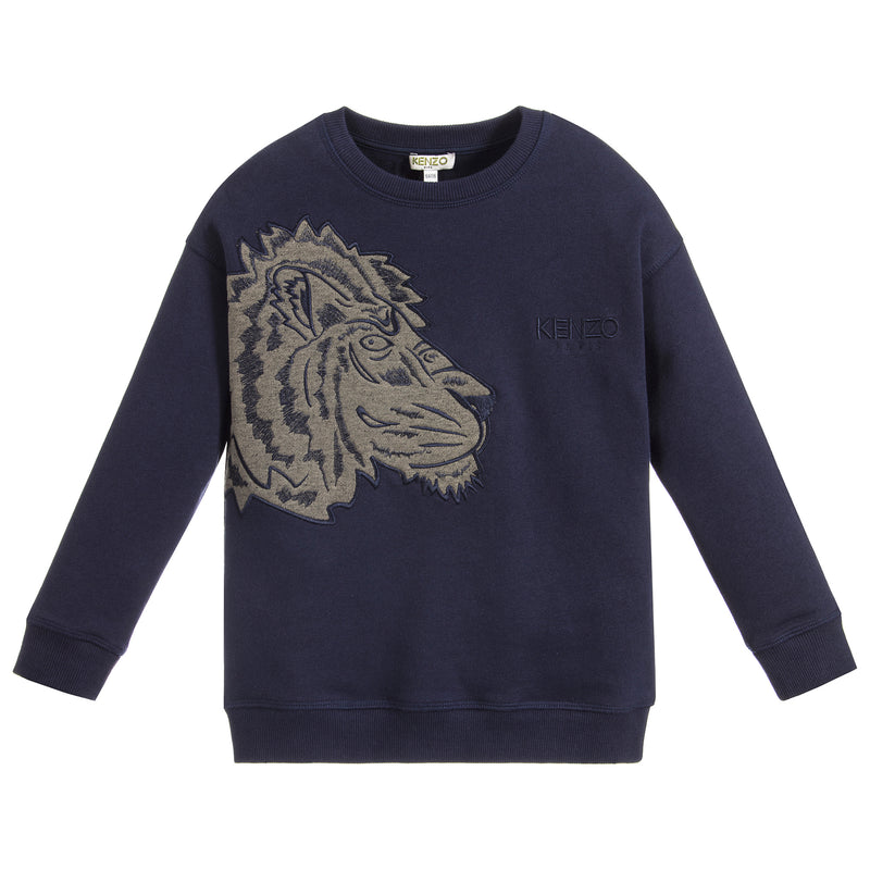 Unisex Navy Blue Tiger and Leopard Logo Sweatshirt