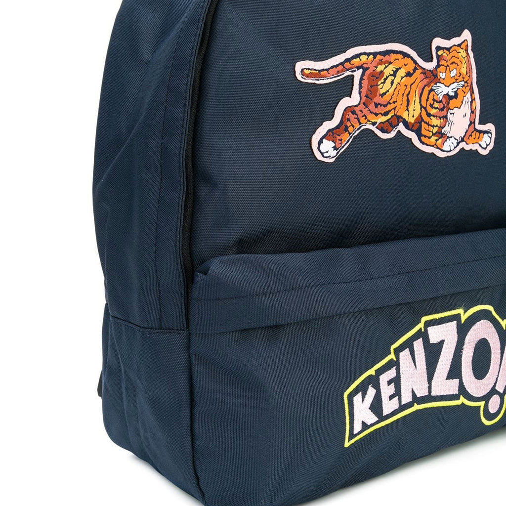 Kenzo Navy Blue Tiger Patched Logo Backpack (Unisex)