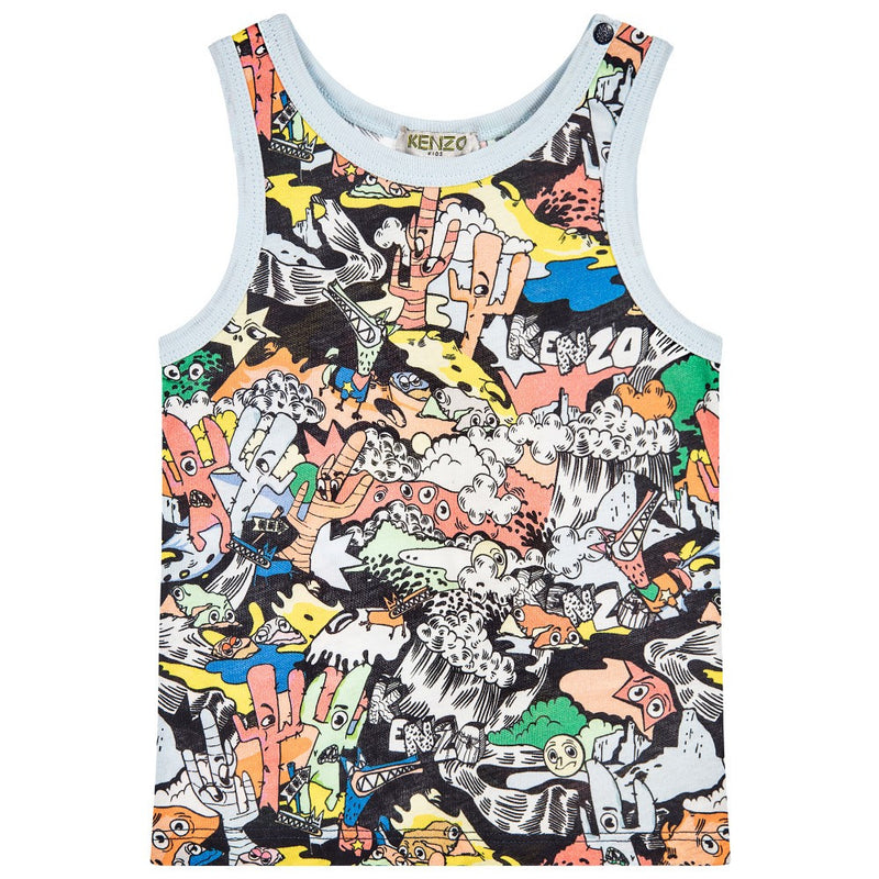Kenzo Baby Boys Colorful 'Dancing Cactus' Printed Tank Top Baby Tops Kenzo Paris [Petit_New_York]
