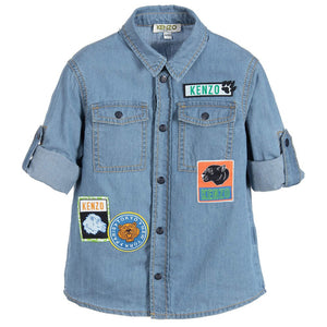 Kenzo Boys Denim Shirt With Patches Boys Shirts Kenzo Paris [Petit_New_York]