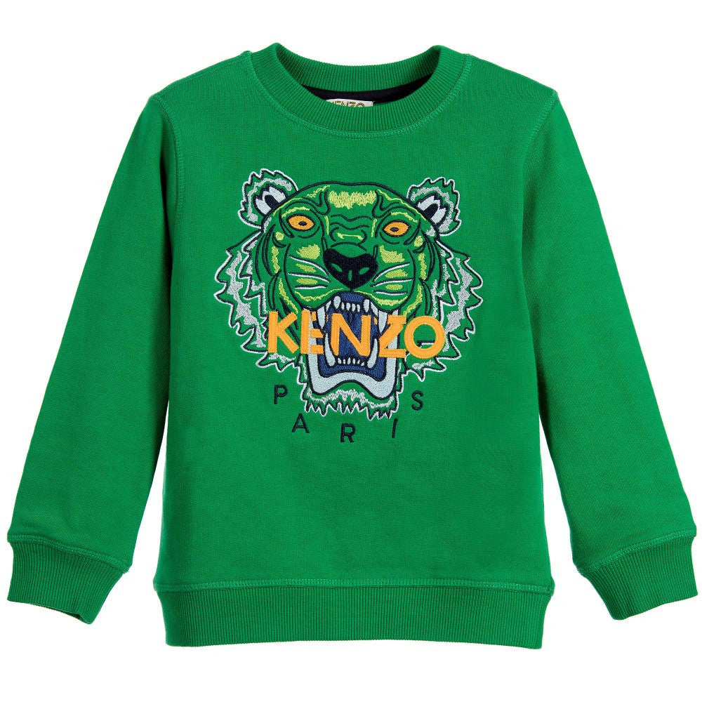 cd48c5c72 Kenzo Boys Green Tiger Logo Sweatshirt Boys Sweaters & Sweatshirts Kenzo  Paris [Petit_New_York]