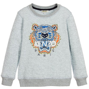 Kenzo Boys Light Blue Tiger Logo Sweatshirt Boys Sweaters & Sweatshirts Kenzo Paris [Petit_New_York]