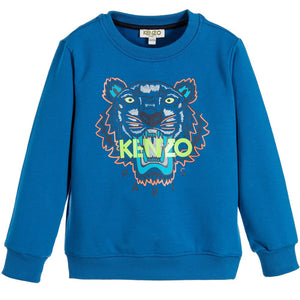 Kenzo Boys Marine Blue Tiger logo Sweatshirt Boys Sweaters & Sweatshirts Kenzo Paris [Petit_New_York]