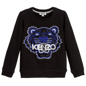 Kenzo Girls Black 'Respect & Smile' Tiger Shirt Girls Sweaters & Sweatshirts Kenzo Paris [Petit_New_York]