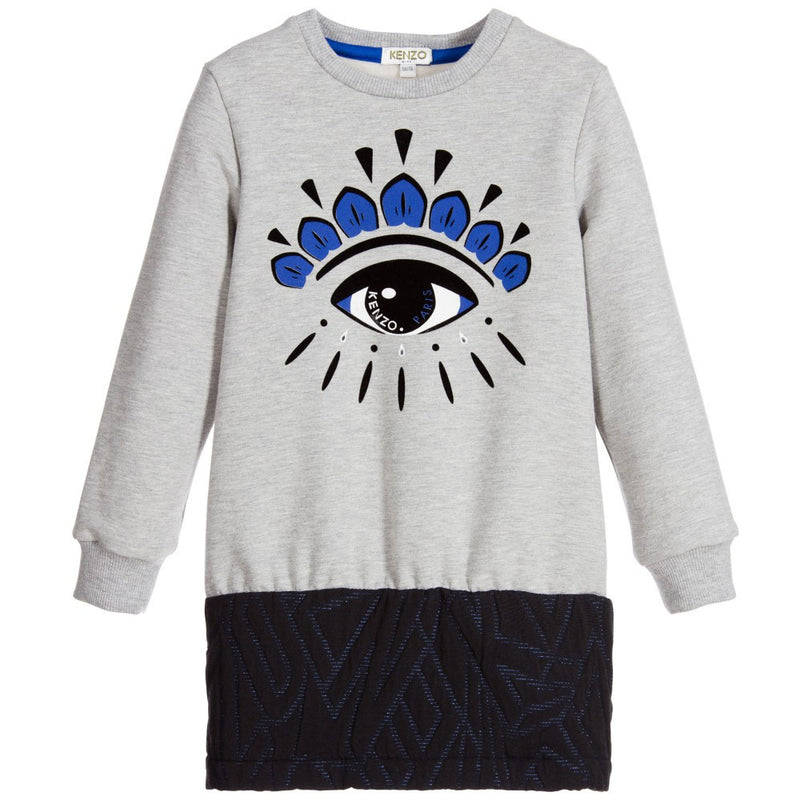 Kenzo Girls Grey 'Eye' Sweatshirt Dress (Mini-Me) Girls Dresses Kenzo Paris [Petit_New_York]