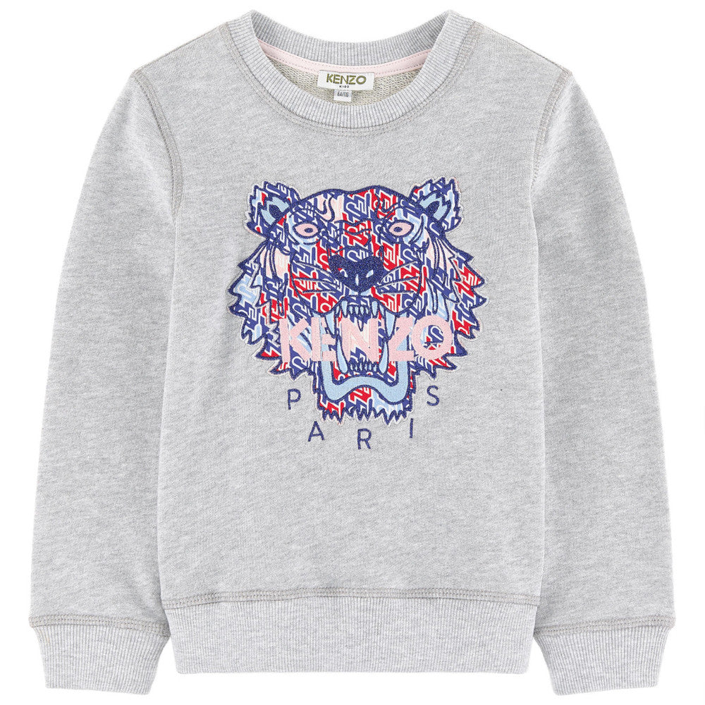Kenzo Girls Grey Tiger Logo Sweatshirt Girls Sweaters & Sweatshirts Kenzo Paris [Petit_New_York]