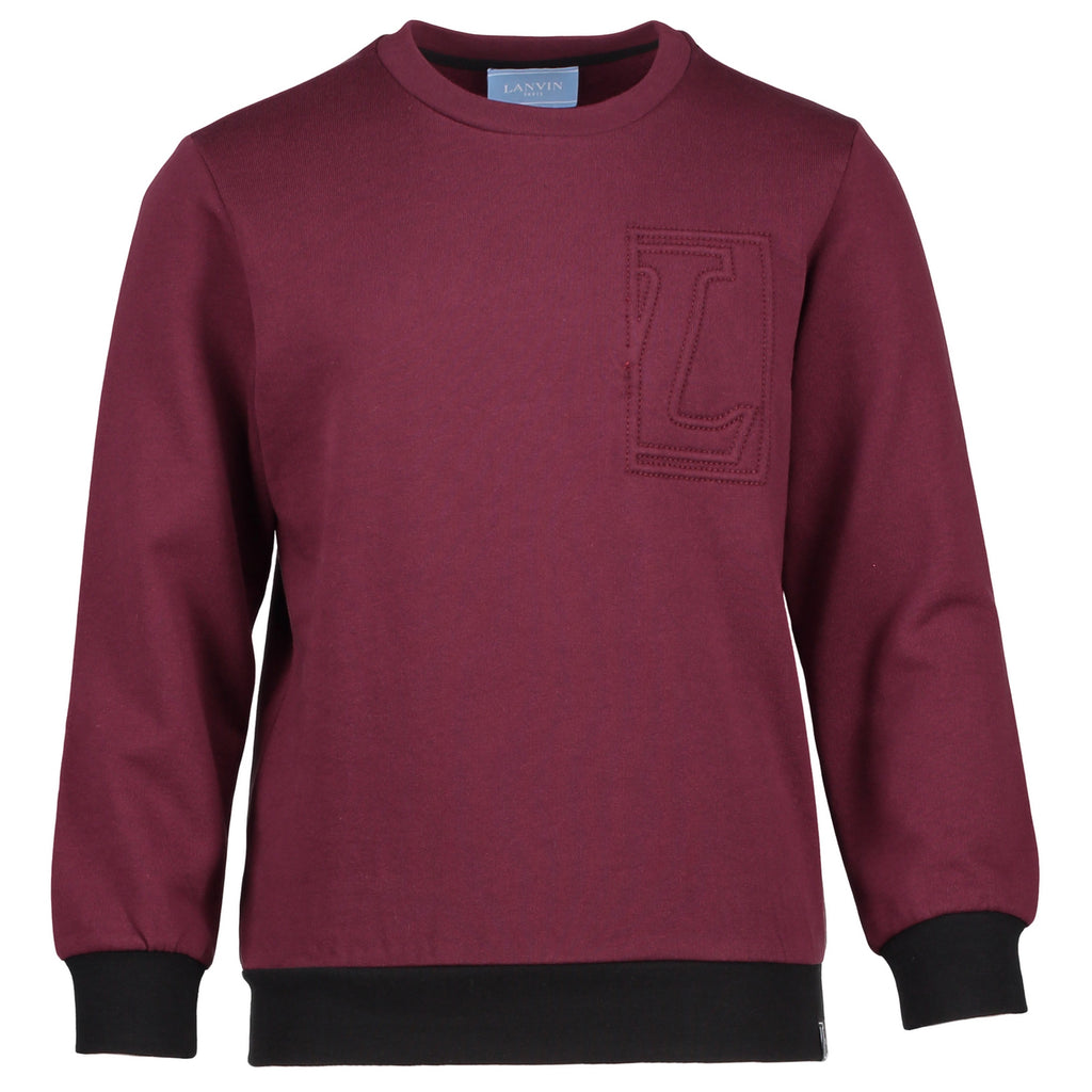 Boys Burgundy and Black 'L' Logo Sweatshirt