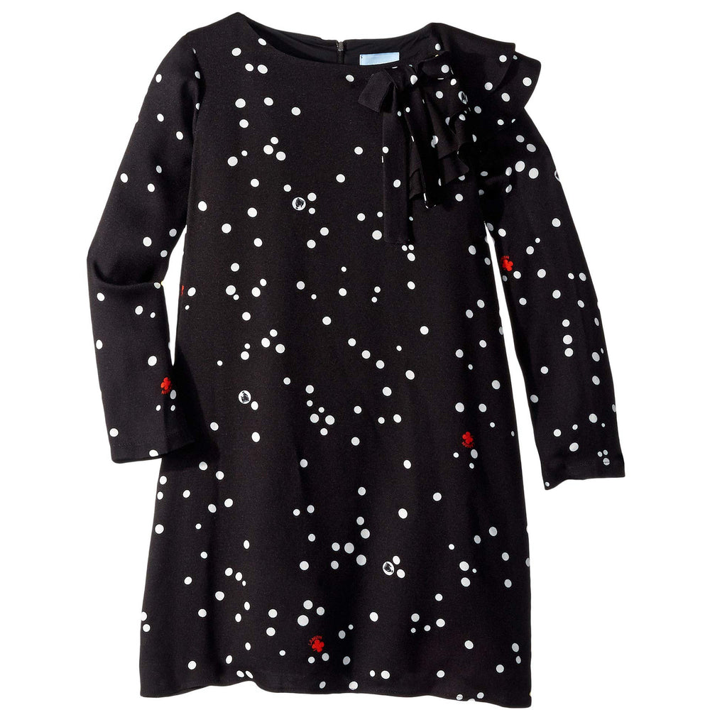 Girls Black Dress with White Polka and Ruffles