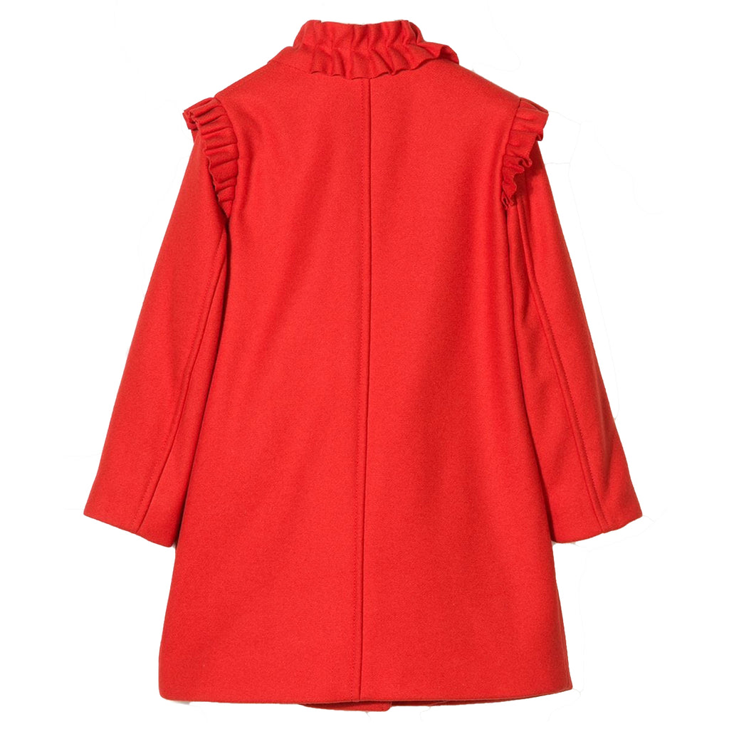Girls Fancy Red Wool Coat with Ruffled Details