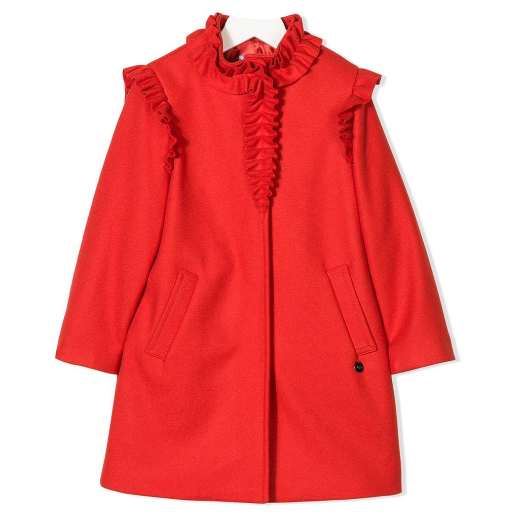 0ddc2ff47c2 Girls Fancy Red Wool Coat with Ruffled Details