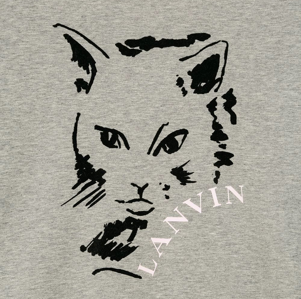 Girls Grey Logo Cat Printed Sweatshirt