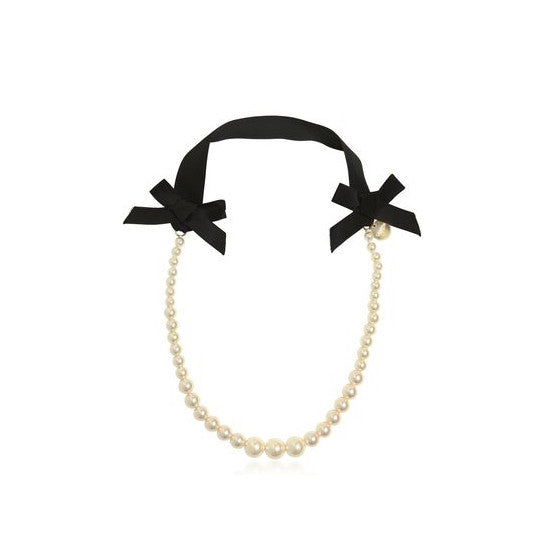 Lanvin Girls Pearl and Ribbon Necklace Accessories Lanvin [Petit_New_York]