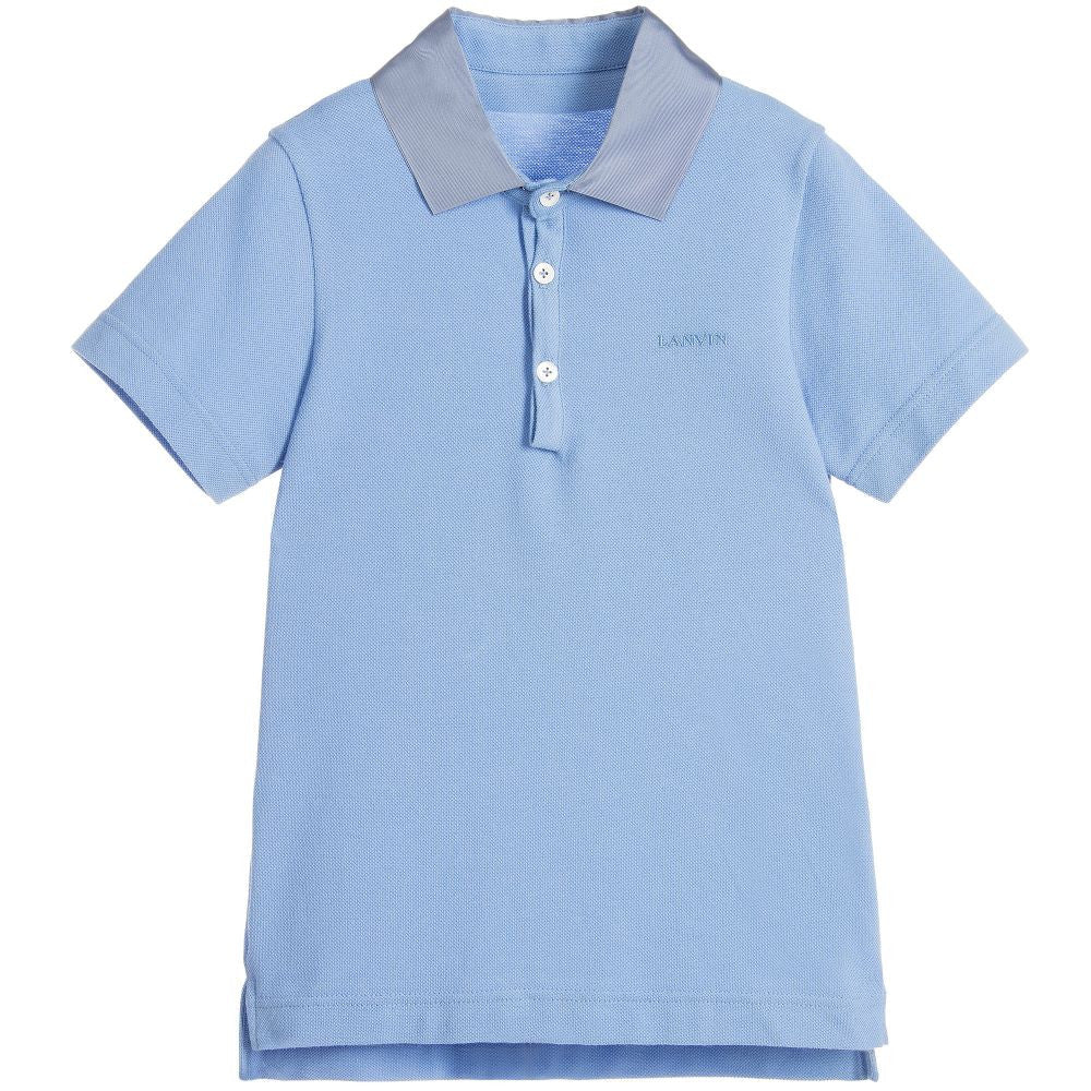 Lanvin Boys Sky Blue Piqué Polo Shirt Boys Polo Shirts Lanvin [Petit_New_York]