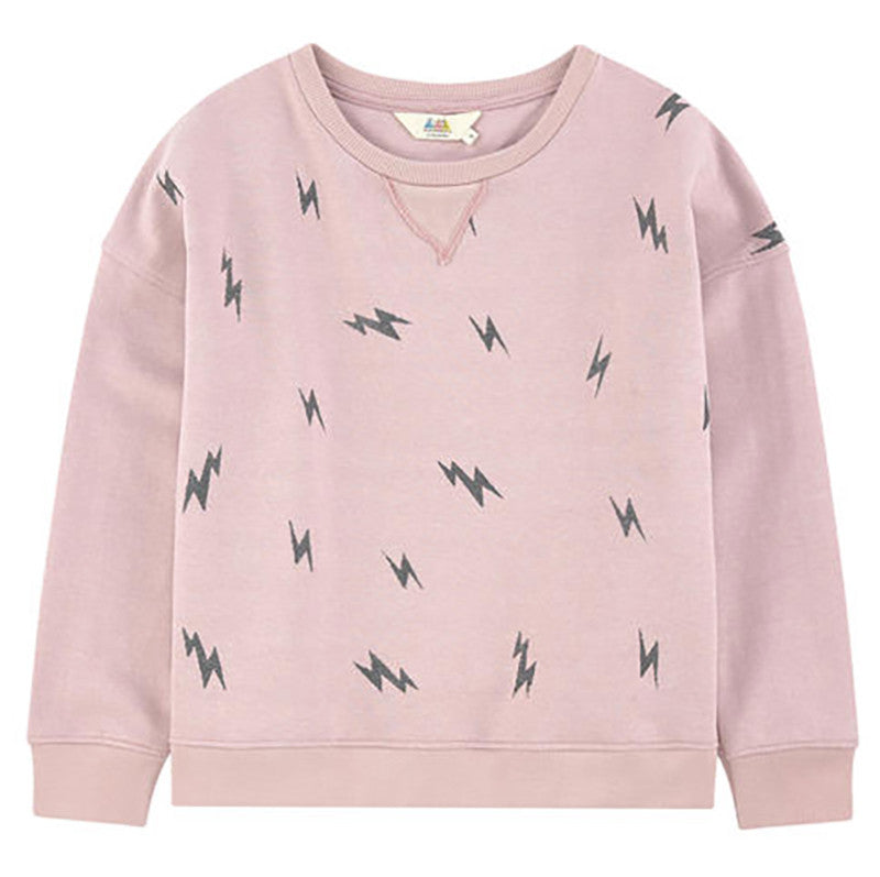 Little Eleven Paris Girls Pink Lightning Bolt Sweatshirt Girls Sweaters & Sweatshirts Little Eleven Paris [Petit_New_York]