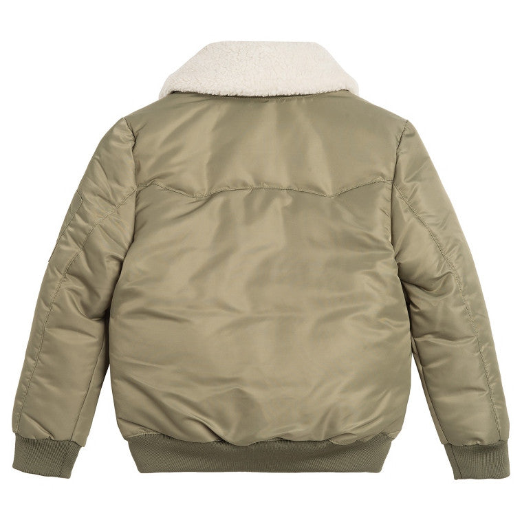 Little Eleven Paris Boys Olive Green Bomber Boys Jackets & Coats Little Eleven Paris [Petit_New_York]