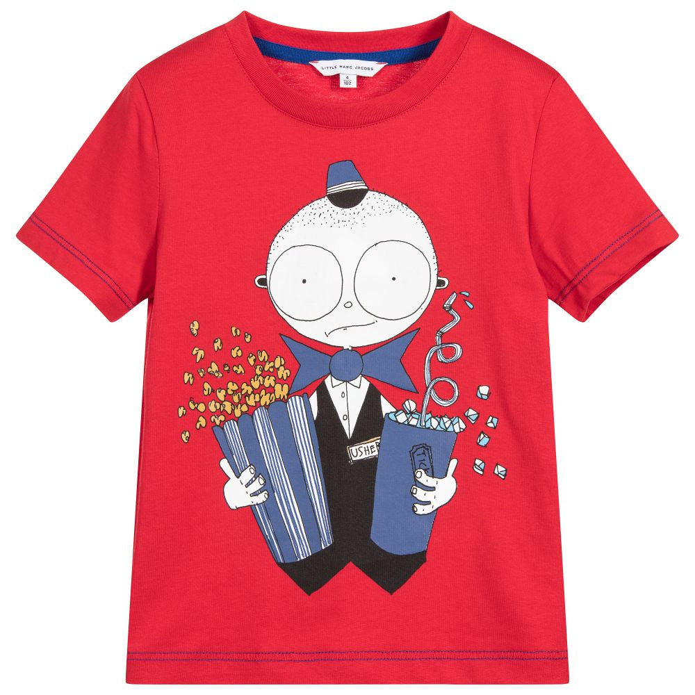 Little Marc Jacobs Boys Red Movie Usher T-shirt Boys T-shirts Little Marc Jacobs [Petit_New_York]
