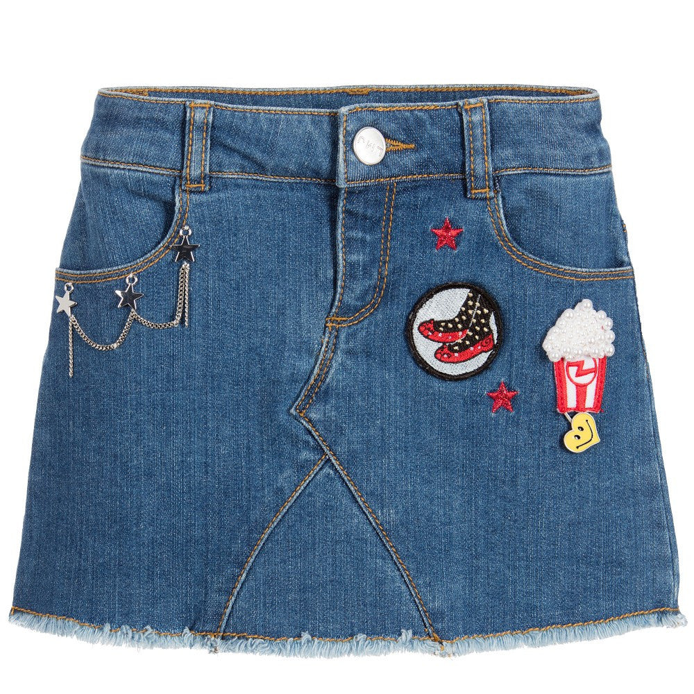 Little Marc Jacobs Denim Skirt With Patches (Mini-me) Girls Skirts Little Marc Jacobs [Petit_New_York]