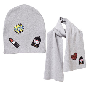 Little Marc Jacobs Girls Knitted Hat & Scarf Set With Patches Girls Hats, Scarves & Gloves Little Marc Jacobs [Petit_New_York]