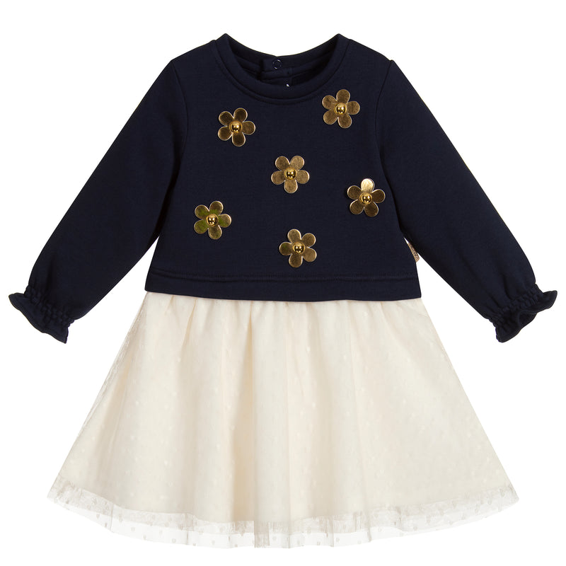Baby Girls Navy Blue and Ivory Dress